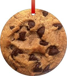 Chocolate Chip Cookie-Flat Round-Shaped Aluminum Christmas Ornament with a Red Satin Ribbon/Holiday Hanging Tree Ornament/Double-Sided Decoration/Great Unisex Holiday Gift!-Made in the USA! -- You can get more details by clicking on the image. (This is an affiliate link) #Ornaments