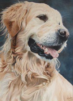 Golden Retriever dog portrait oil painting on canvas