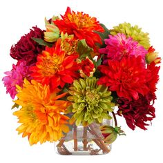 Bursting with color, this faux dahlia arrangement adds a cheerful touch to your nightstand or coffee table.     Product: Faux flora...
