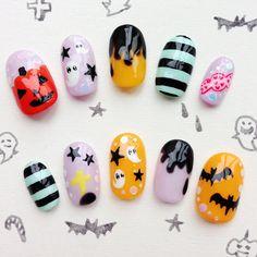 Halloween Nail Tips Japanese kawaii nail art by MiCHiMALL on Etsy, $36.00