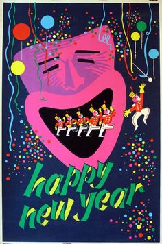 Vintage Happy New Year silk screened poster.