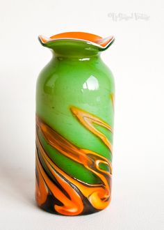 Vinatge RETRO 1960s/1970s Green & Orange Hand Blown ART GLASS Vase from UpStagedVintage on Etsy