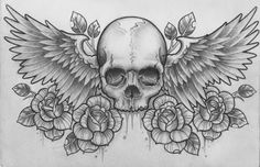 rose skull wings dark desktop wallpapers - Google Search
