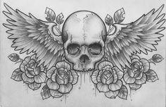 rose skull wings dark desktop wallpapers - Google Search