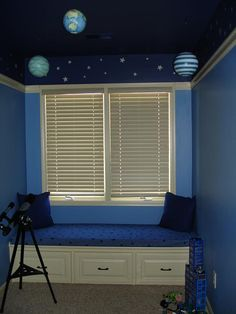 Solar System Room, clean walls with outer space ceiling, star gazing nook