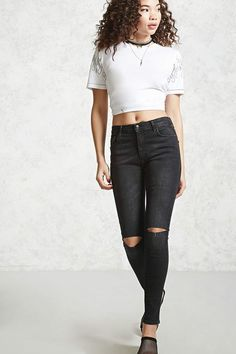 d953f88917 FOREVER 21 Ripped Knee Skinny Jeans teen teenage fashion style vacation  beach college summer + spring