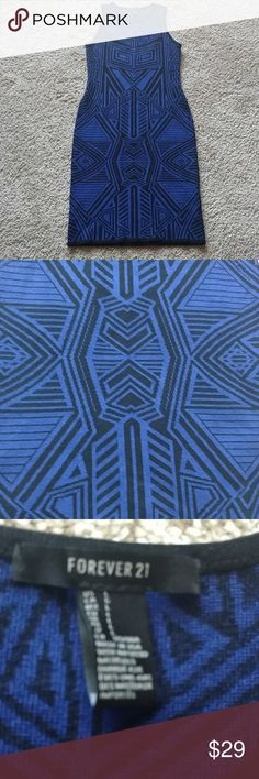 """Thick Tribal print midi dress Heavy sweater midi dress. This is not see through and it is warm. With booties so cute. Color: royal blue and black Length: 38"""" inches Flaw: hole by collar. Can be seen back or if work with cardigan can be covered. Forever 21 Dresses Midi"""