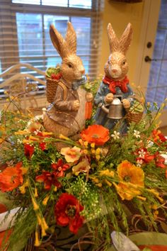 Idea for the mantle! Spring Bunny Tablescape...love the bunnies!!! #easter