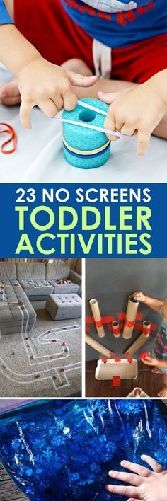 Toddler Led Activites without Screens! TODDLER ACTIVITIES: These 23 toddler led activities will give you a little break without leaving that guilty feeling that comes with just handing them a screen!TODDLER ACTIVITIES: These 23 toddler led activities will Toddler Learning Activities, Games For Toddlers, Indoor Activities, Infant Activities, Preschool Activities, Kids Learning, Preschool Age, Family Activities, Nursery Activities