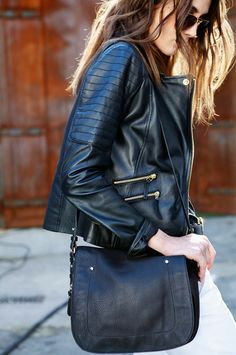 Black Biker Jacket Finished w/ Zippers & Seams