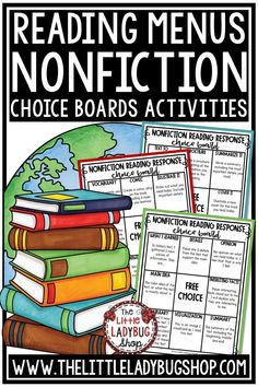 Grow your readers with these Fiction & Nonfiction Reading Strategies Posters.  Your students will love using these and parents will cherish having these come home. These are perfect for Guided Reading, Small Group, Display, or Student Notebooks.  #nonfictionchoiceboard #nonfictionactivities #nonfictionreadingresponse #nonfictionmenus