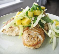 Pan Seared Halibut with Peach Salsa  (perfect for a winter dinner)