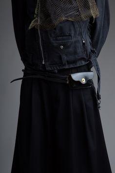 Hed Mayner Men's Pleated Shorts. Vintage Denim Biker Jacket and ACNE Double Belt with Pouch. Designer Clothing Dark Minimal Street Style Fashion