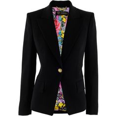 Versace Black Blazer Tini ($1,270) ❤ liked on Polyvore featuring outerwear, jackets, blazers, casacos, tops, black blazer, versace, versace jacket, versace blazer and black jacket