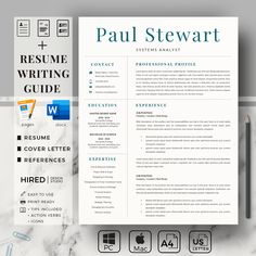 Professional Resume Design, Cover Letter & References Sheet. Perfect and Professional Resume for MS Word and Apple Pages | Eirify Cover Letter Format, Cover Letter For Resume, Cover Letter Template, Cv Template, Resume Layout, Resume Writing, Resume Design, First Resume, Project Manager Resume