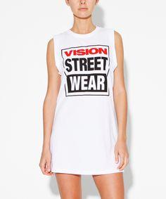 WHITE LOGO MUSCLE DRESS | Singlets | Tees + Singlets | Clothing | Shop Womens | General Pants Online