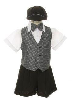 Dress Suit Tuxedo Outfit Set-Shorts,Bowtie,Vest, Short Sleeve Shirt & Hat Infant Baby Boys, Gray-White, 9 Months SK http://www.amazon.com/dp/B00DF3JVU4/ref=cm_sw_r_pi_dp_gFfgub0B5JECB