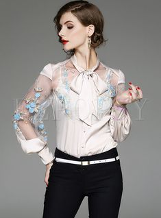 Shop Sexy See Through Embroidery Blouse at EZPOPSY. Chic Outfits, Fashion Outfits, Womens Fashion, Costura Fashion, Sheer Lace Top, Mexican Dresses, Cute Blouses, Embroidered Clothes, Embroidery Fashion