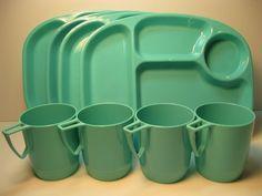 Vintage Retro picnic plastic divided plate Set of 4 plus 4 mugs Aqua/ turquoise. $22.00, via Etsy.