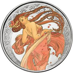 1 oz Proof Colorized Mucha Collection Dance Silver Round from JM Bullion™ Alphonse Mucha, Hobo Nickel, Coin Art, Proof Coins, Silver Rounds, 1 Oz, Constellations, Great Artists, Sculpture Art