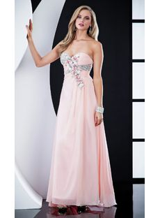 Attractive A-line Sweetheart Floor-length Chiffon Pink Prom Dresses
