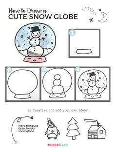 How to draw a cute snow globe with kids. In four easy steps, children will learn how to draw a snow globe with snowmen, trees, houses, and penguins. Winter Drawings, Art Drawings For Kids, Doodle Drawings, Drawing For Kids, Art For Kids, Drawing Drawing, Drawing Ideas, Christmas Doodles, Christmas Drawing