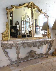 French baroque louis xiv style 110 inch marble topped for Floor mirror italian baroque rococo style