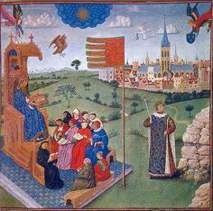 San Agustín lee ante sus alumnos. 1445