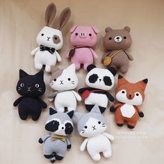 All patterns are available on my shop (link in bio) ❤️ . Crochet Animal Patterns, Crochet Doll Pattern, Crochet Patterns Amigurumi, Stuffed Animal Patterns, Amigurumi Doll, Crochet Animals, Crochet Dolls, Kawaii Crochet, Crochet Bunny