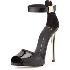Giuseppe Zanotti Patent Ankle-Strap Sandal