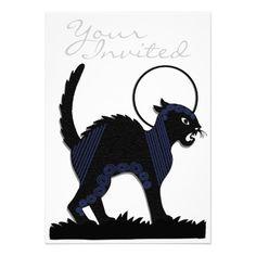 Halloween Black Cat & Moon - 8 Invitation