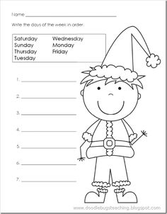 Days of the Week Paper {free download} www.doodlebugsteaching.blogspot.com