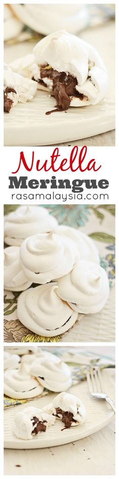Light and sweet Nutella Meringue. Every bite is filled with thick gooey Nutella. Easy Nutella Meringue recipe that anyone can make at home | rasamalaysia.com