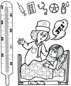 * Kleur de thermometer in tot graden. Senses Activities, Health Activities, Activities For Kids, Preschool Education, Preschool Themes, Coloring Pages For Kids, Coloring Books, Book Hospital, Doctor Drawing
