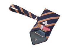 Navy Blue Orange Recycled Necktie Wristlet Cell Phone Purse