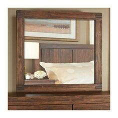 Shop for Meadow Solid Wood Mirror in Brick Brown. Get free delivery On EVERYTHING* Overstock - Your Online Furniture Store! Wood Mirror, Dresser With Mirror, Boys Bedroom Furniture, Lodge Style, Platform Bed Frame, Wood Drawers, Online Furniture Stores, Wood Construction, Solid Wood