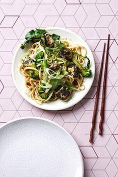Black sesame-coated tofu with broccoli and lemon-glazed noodles