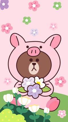 Pink Wallpaper Kawaii, Rilakkuma Wallpaper, Bright Wallpaper, Lines Wallpaper, Brown Wallpaper, Hello Kitty Wallpaper, Bear Wallpaper, Aesthetic Iphone Wallpaper, Wallpaper Backgrounds