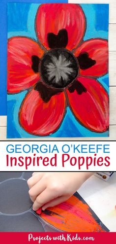 Kids will be inspired by Georgia O'Keeffe and her beautiful flower paintings to create these gorgeous chalk pastel poppies! This art project also makes a perfect Remembrance Day craft idea. flowers Chalk Pastel Poppies Inspired by Georgia O'Keeffe