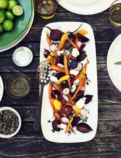 Baby beetroot, carrot, Persian feta and pumpkin seed salad