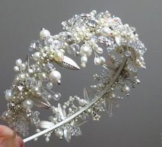 Pearl and crystal headband Vintage tiara Wedding by ZTetyana
