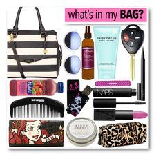 """""""Sneak Peek into my life or rather my bag..."""" by eclectic-chic ❤ liked on Polyvore featuring Mode, Fiorelli, NARS Cosmetics, Marc Jacobs, Torrid, CB2, Victoria's Secret, Carol's Daughter, Revo und Tweezerman"""