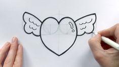 easy drawing heart cartoon drawings boyfriend draw valentine hearts wings sketches valentines getdrawings beginners cartoons tutorial paintingvalley