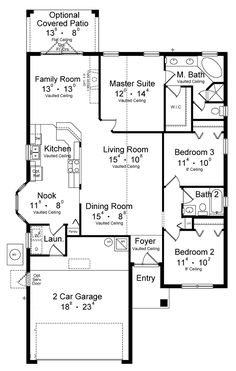 Floor Plan. Eliminate family room since there is a big L R. Make that area the covered patio.