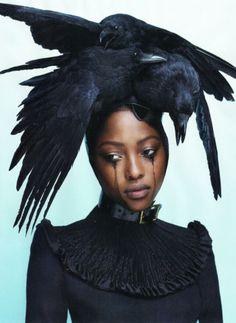 Crow headpiece: Pam Hogg  Dress: Giles Deacon  Stylist: Panos Yiapanis and Katie Grand  Photographer: Mert Alas & Marcus Piggott