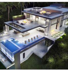 Pimpin My Friends ain't easy Dream Home Design, Modern House Design, Modern Mansion, Dream House Exterior, Villa Design, Modern Architecture, Future House, Building A House, House Plans