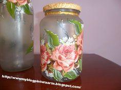 Lindas peças de vidro em falso jateado, com decoupage combinada com pintura á mão livre...