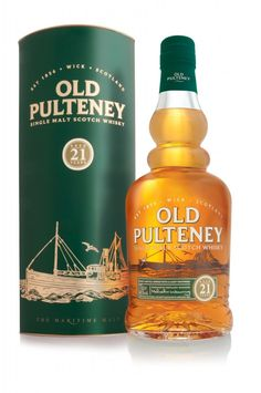 "Old Pulteney 21 Year Old Single Malt Scotch Whisky. Named ""World Whisky of the Year"" by the Whisky Bible, this single malt was aged for 21 years in the Scottish Highlands. Scotch Whiskey, Irish Whiskey, Bourbon Whiskey, Bourbon Drinks, Cocktails, Alcoholic Drinks, Beverages, Wine And Liquor, Wine And Beer"