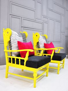 Make Chaise Lounge out of chairs? Would stand out in an all white room! Pair of vintage Neon Wood Bench w/Arms by namedesignstudio on Etsy, Funky Furniture, Painted Furniture, Furniture Design, Painted Chairs, Painted Wood, All White Room, Grey Room, Wood Arm Chair, Wood Chairs