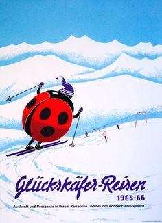1964 Ladybug ski vacation vintage poster